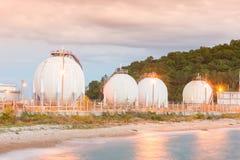 LPG gas industrial storage sphere tanks Royalty Free Stock Images