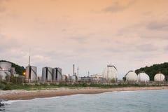 LPG gas industrial storage sphere tanks Stock Photos