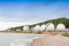 LPG gas industrial storage sphere tanks Stock Image