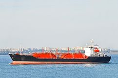 LPG (liquid petroleum gas) tanker at sea Royalty Free Stock Photos