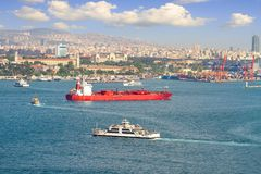 LPG tanker ship sailing in front of Istanbul Commercial Harbour. Some 50,000 ships pass through the Turkish Straits every year. LPG ship designed for liquefied Stock Image