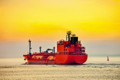 LPG Tanker ship at sea. Seascape - LPG Tanker ship at sunrise Stock Photos