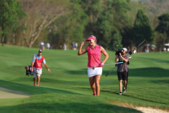 LPGA 2016. PATTAYA, THAILAND - February 27, 2016: Lexi Thompson of USA plays the shot of the 2016 LPGA Thailand at Siam Country Club in Chonburi Stock Images