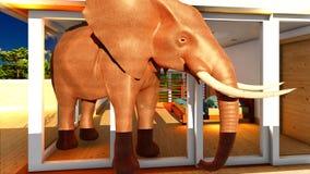 Éléphant dans le rendu du salon 3d Photographie stock libre de droits