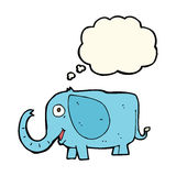 éléphant de bébé de bande dessinée avec la bulle de pensée Photographie stock libre de droits