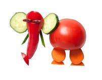 Éléphant drôle fait de légumes frais Photos stock
