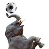 Éléphant jouant le football Photo libre de droits