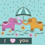 Éléphants d'amour de carte Photos libres de droits