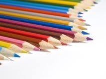 Lápices del color en el fondo blanco 2. Foto de archivo libre de regalías