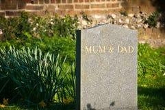 Lápida mortuaria de la momia y del papá Fotos de archivo