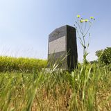 Lápida mortuoria en campo. Fotos de archivo