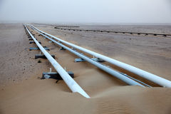 Ölpipeline in der Wüste Stockfotografie