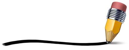 Lápis com linha do curso da escrita Fotografia de Stock