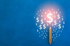 Lápis com símbolo e cópia-espaço do dólar americano Foto de Stock