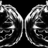 Lápis de carvão vegetal do giz da cabeça da abóbora da jaque-o-lanterna de Dia das Bruxas Foto de Stock