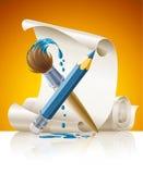 Lápis e escova com pintura azul Imagem de Stock Royalty Free