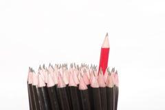 Lápis vermelho - o conceito do líder Imagens de Stock Royalty Free