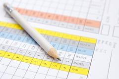 Lápiz en una tarjeta de puntuación del golf Imagen de archivo libre de regalías