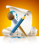 Lápiz y cepillo con la pintura azul Imagen de archivo libre de regalías