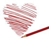 Lápiz y corazón Fotos de archivo libres de regalías