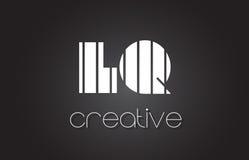 LQ L lettre Logo Design With White de Q et lignes noires Photos libres de droits