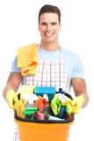 Líquido de limpeza do homem. Foto de Stock