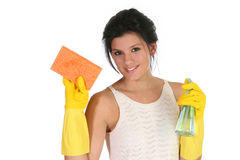 Líquido de limpeza fêmea, limpando Fotos de Stock