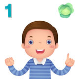 Lär numret och att räkna med kid'shanden som visar nummernollan Royaltyfri Bild