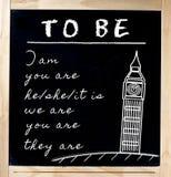 Lära engelska på den svart tavlan Royaltyfria Foton
