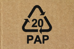 LRecycling code 20 PAP. Recycling code 20 PAP used for cardboard material Royalty Free Stock Photo