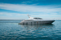 Lrge private motor yacht  out at sea. Large luxury  private motor yacht  out at sea Stock Photo