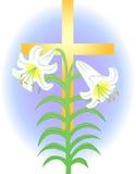 Lírio de Easter e cruz/eps Fotografia de Stock Royalty Free