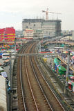 LRT railtrack at EDSA train station Royalty Free Stock Photography
