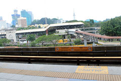 LRT Tracks with transportation section in city Stock Image
