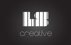 LS L letra Logo Design With White de S y líneas negras Imagenes de archivo