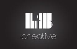 LS L lettre Logo Design With White de S et lignes noires Images stock