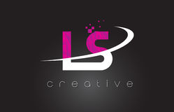 LS L S Creative Letters Design With White Pink Colors Stock Photo