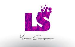 LS L S Dots Letter Logo met Purpere Bellentextuur Stock Afbeelding