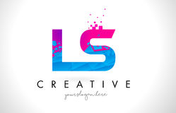 LS L S Letter Logo with Shattered Broken Blue Pink Texture Desig. LS L S Letter Logo with Broken Shattered Blue Pink Triangles Texture Design Vector Illustration Stock Photography