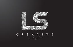 LS L S Letter Logo with Zebra Lines Texture Design Vector. Stock Images