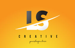 LS L S Letter Modern Logo Design with Yellow Background and Swoo Stock Images