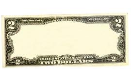 Löschen Sie zwei Dollarscheingrenze mit leerem mittlerem Bereich Stockfotografie
