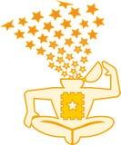 Lsd brain explosion. Of stars stock illustration
