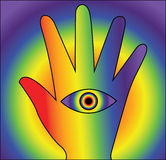 Lsd hand seeing. Seeing with hand lsd illustration Stock Photo
