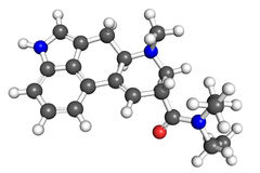 LSD molecule. Ball and stick model Stock Image