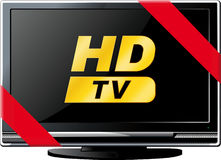 LSD TV with a red ribbon. Modern LSD HD TV with a red ribbon and the words HD isolated on white Stock Image