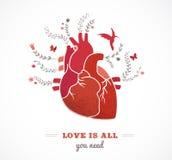 Älska bakgrund med hjärta och blommor, valentin Arkivfoto