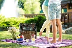 Älska den romantiska picknicken för par Fotografering för Bildbyråer