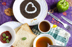Älska den sunda paprikan för bröd för soppa för frukosttegrönsaken Arkivbild
