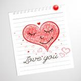 Älska dig, knapphändiga anteckningsbokklotter för hjärtor Arkivbilder